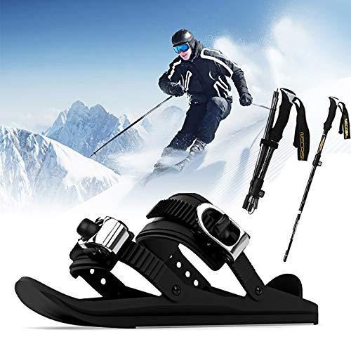 LXVY Upgrade - Mini Skischuhe, Mini Ski Skates für Snow Skiboard Snowblades, Anti-Rutsch-Erwachsene Fußpaneel Skischuhe, für Skifahren im Freien (mit Verstellbaren Skistöcken - 2 Stück)