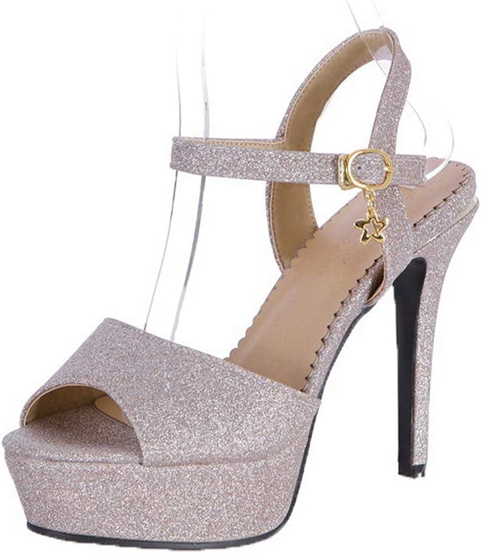 WeiPoot Women's Buckle High Heels PU Solid Open Toe Sandals