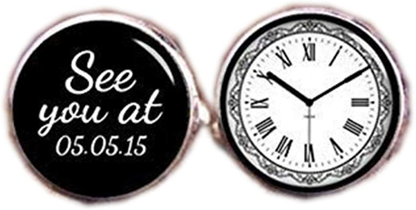 Death Devil Custom Cuff Links,Custom Wedding Cufflinks, Custom Your Text and Time Cuff Links, See You at, Time Cufflinks, Clock Cufflinks, Groom Tie Clips, Meet Me at,Gift of Love