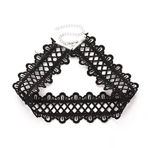 Gugutogo Collar Vintage de Encaje Negro con Cuello Ancho Gargantilla Cadena de clavícula Corta