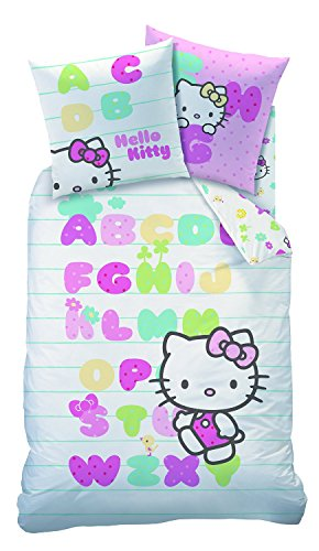 Sanrio - Juego de cama con funda nórdica de Hello Kitty, 100% algodón, 140 x 200 cm + funda de...