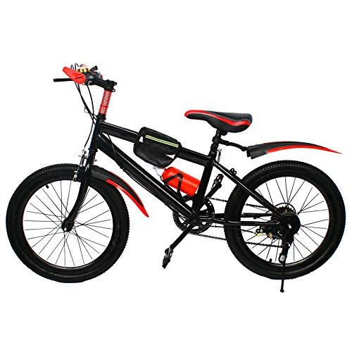Bicicleta de montaña de 20 pulgadas, doble disco de freno de acero al carbono, color rojo, capacidad de carga de 85 kg