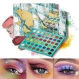 Mimore Paleta de sombras de ojos de mariposa de 48 colores, fácil de colorear sin polvo volador, paleta de maquillaje mate con brillo perlado mate