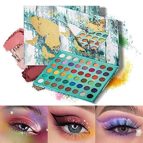 Mimore Palette di ombretti a 48 colori a farfalla Facile da colorare Senza polvere volante Palette per trucco perlescente luccicante e opaca Lunga durata Impermeabile