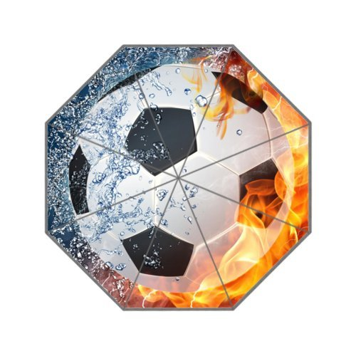 Regenschirm mit Fußball-Motiv, winddicht, 8 Speichen, manuelles Öffnen und Schließen
