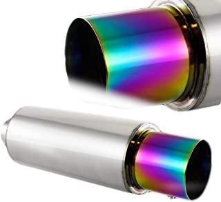 """5.5/"""" Wide Oval Rainbow Burnt Tip Stainless Muffler Exhaust 2.5/"""" Inlet Universal"""