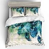 BH-JJSMGS Aquarell Pfau Bettbezug Bettwäsche, bedruckter Bettbezug und Kissenbezug, Pfau 翎 228x228cm