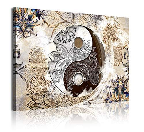 DekoArte 349 - Cuadros Modernos Impresión de Imagen Artística Digitalizada | Lienzo Decorativo Para Tu Salón o Dormitorio | Estilo Ying Yang Abstractos Zen Colores Beig Marrón | 1 Pieza 120 x 80 cm