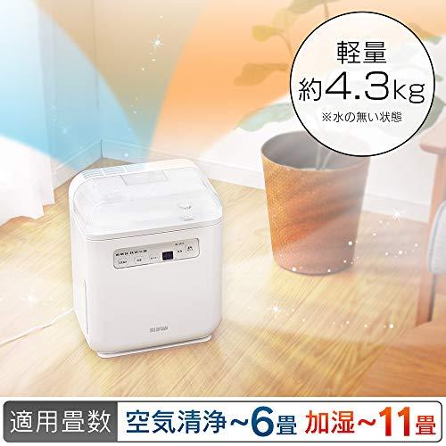アイリスオーヤマ空気清浄機能付加湿器タイマー付PM2.5ハウスダスト除去ホワイトSHA-400A