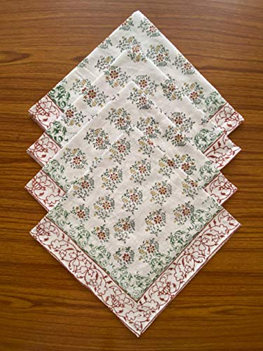 Ridhi - Servilletas de tela de algodón reutilizable con bloque de mogol, tamaño 50,8 x 50,8 cm, regalo de cumpleaños para ella