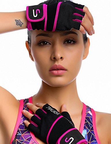 Showtime Damen Fitnesshandschuhe Handgelenkstütze Grips für Training – Schwarz/Lila – M - 6