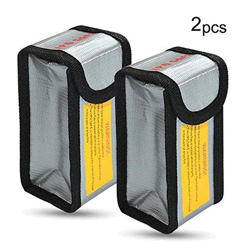 Amaoma 2 Stück Lipo Batterie Sicherer Beutel, Feuerfeste Explosionsschutz Lipo Battery Guard Tasche Sack, Gebühren Schutz Tasche, Modell Lithium Batterie Feuerfeste Tasche, Silber (M/2.5 * 2 * 4.9in)