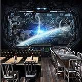 Papel tapiz negro Gaming Room Cosmic Space Spacecraft Wallpaper para paredes Mural 3D Papeles de pared Decoración para el hogar, 400X280Cm