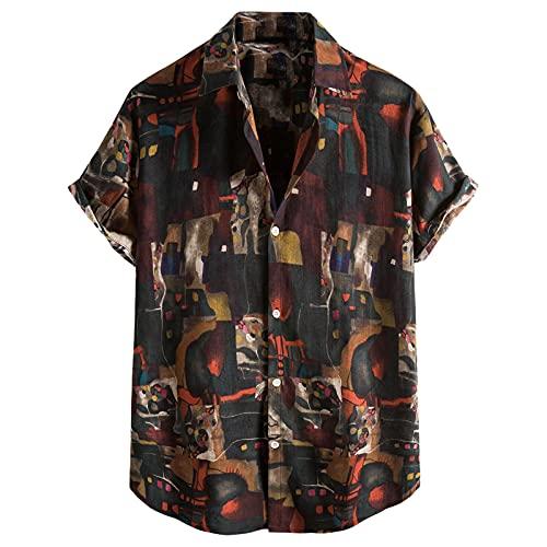 Nuevo 2021 Camisas Hombre Verano Hawaii Vacaciones Manga corta Retro Impresión Moda Casual Camiseta T-shirt Blusas Casual camisas originales Playa hombre camisas suave básica Tops camiseta