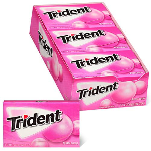 Trident Bubblegum Sugar Free Gum, Made with Xylitol, 12 Packs of 14 Pieces (168 Total Pieces) - SET OF 2