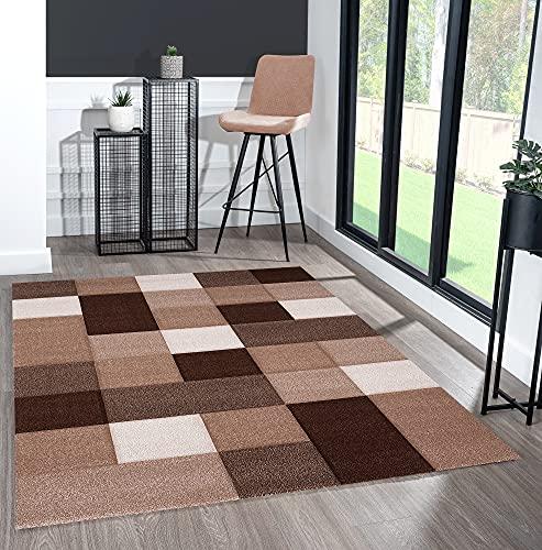 the carpet Monde Deluxe Tapis de salon à poils courts, coloré, marron, beige, crème, motif carré 160 x 230 cm