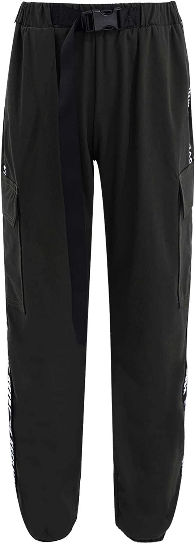 Agoky Kids Girls Dungarees Cargo Pants Elastic Waist Pure Color Sport Hip Hop Dance Sweatpants with Pocket Belt Set