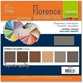 Vaessen Creative Florence scrapbook-papper 216 g 6 x 6 x 24 ark-multipack, brun, papper, flerfärgad, 15 x 15 x 0,8 cm