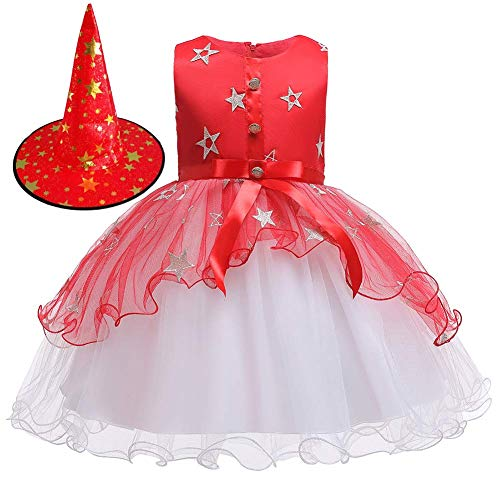 OwlFay Disfraz Bruja Halloween para Bebe Nias Infantil Vestido Estrella de Fiesta Princesa con Sombrero de Bruja Carnaval Cosplay Costume Rojo B 5-6 Aos