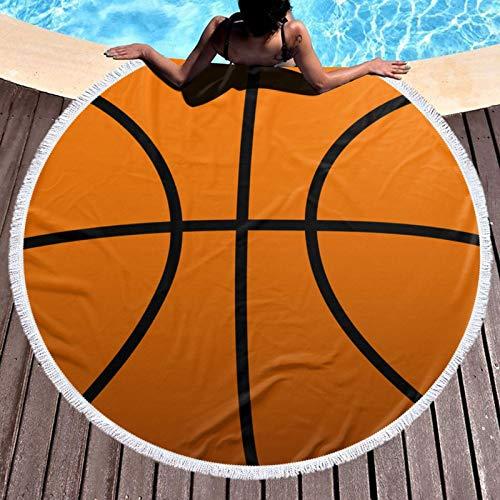 Toalla de playa redonda impresa baloncesto Yoga Picnic Mat Mantel redondo ultra suave Super absorbente de agua toalla de rizo con borlas