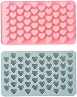 Silicone Molds,55 Holes Mini Love Heart Shaped,DIY Chocolate Cupcake Handmade Soap Ice Jelly Candy Muffins Mould Kitchen Baking Tools,2 Set