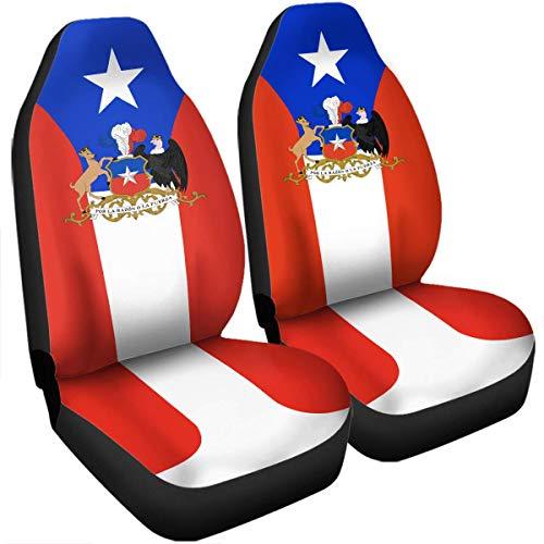 JONINOT Escudo de Armas de Chile Bandera de Chile Fundas de Asiento compatibles con airbag de Coche Accesorios de Coche Tamaño Universal Ajuste para la mayoría de los Coches SUV Camión