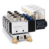 Heschen Electroválvula neumática 4 solenoide 4V210-08 AC 220V PT1/4 5 vías 2 posiciones manifold base silenciador rápido conjunto