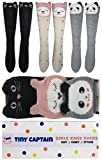 Tiny Captain Girls Knee High Long Socks Gift Over Calf Cartoon Animal Sock For Girl Ages 4-8 Yr Old One Size (Pink, Grey, Black, Medium)