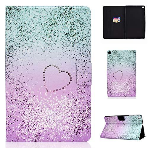 CaseFun Samsung Galaxy Tab A 101 2019 T510T515 Hulle PU Leder Tasche Cover Schutzhulle Schale Etui mit Standfunktion Glitter Flussiger Sand