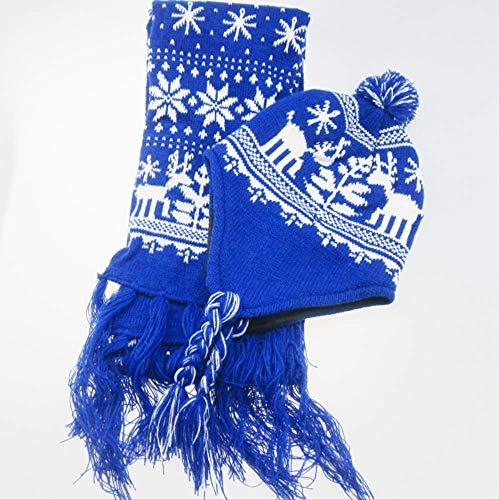 DDMY Sjaal Kerstmis sneeuwvlok eland wollen sjaal muts tweedelig accessoires