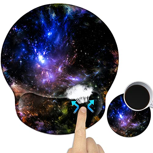 Ergonomic Gaming Mouse Pad with Wrist Support Gel, Computer Mouse Pad for Laptop with Vivid Designs, Non-Slip Gel Mouse Pad with Wrist Rest, Mouse Pad Wrist Support for Office Home School - Nebula