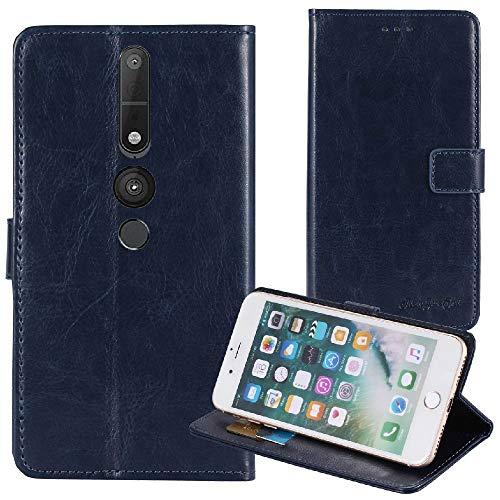 TienJueShi Dark Blau Premium Retro Business Flip Book Stand Brief Leder Tasche Für Lenovo Phab 2 Pro 6.4 inch Schutz Hülle Handy Hülle Abdeckung Wallet Cover Etüi Skin