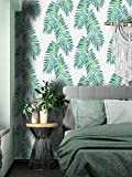 Green Leaf Wallpaper Peel and Stick Tropical Wallpaper Stick and Peel Jungle Wallpaper Self Adhesive...