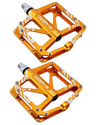 Pedali Bici Flat MTB Pedale Bicicletta Pedali Flat da Bici di Alluminio CNC 9/16',Pedaliera larga per bici da corsa in alluminio con design oro