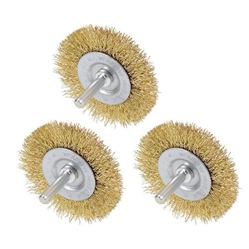 Banco de cepillo de rueda de alambre de 2-1/2 pulgadas, acero prensado chapado en latón, vástago de 1/4 de pulgada, 3 piezas