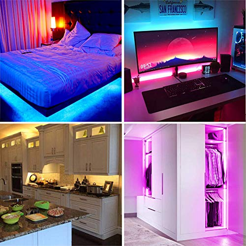 LED Strip Lights, YORMICK 32.8 feet Waterproof Flexible Tape Lights Color Changing 5050 RGB 300 LEDs Light Strips Kit with 44 Keys IR Remote Controller and 12V Power Adaptor for Home, Bedroom, Kitchen 4