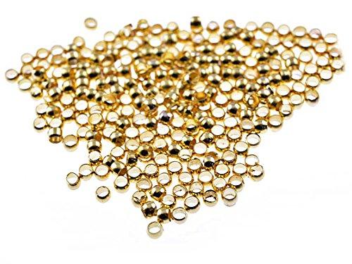 200 Quetschperlen in goldfarben, 2 mm von Vintageparts, DIY-Schmuck