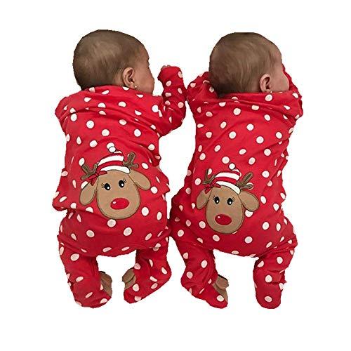 Dcohmch Newborn Baby Boy Girl Christmas Clothes Long Sleeve Romper Jumpsuit Bodysuit Infant Baby Polka Dot Footie Pajamas Deer Outifits (Red(Footies), 0-3M)