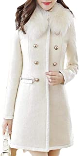Macondoo Women's Thickened Faux Fur Collar Double Breasted Outwear Peacoats
