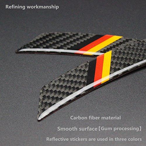 Biznon Juego de 4 pegatinas reflectantes de fibra de carbono para protección de cejas, anticolisión y guardabarros de ruedas, diseñadas para adaptarse a todos los coches, color rojo y amarillo