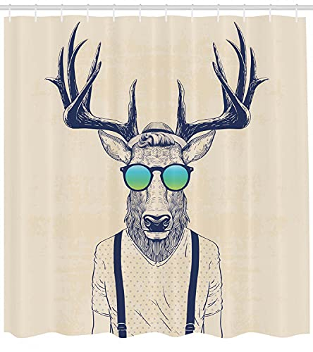 Ciervo Hipster con Gafas Cortina de Ducha de baño,poliéster Impermeable y de Secado rápido,patrón de Alta definición,12ganchos,180X180cm,decoración del hogar