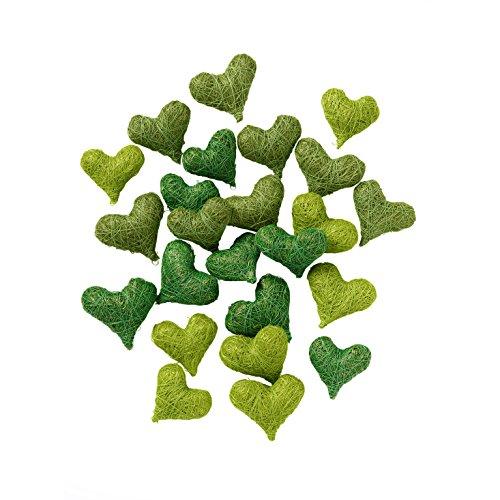 Weddix Streudeko Sisalherzen Grün Tischdeko Hochzeit - Deko Herzen für Ostern, Heiratsantrag, Frühlingsdeko, 24 Stück Set