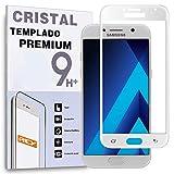 REY Protector de Pantalla Curvo para Samsung Galaxy A5 2017, Blanco, Cristal Vidrio Templado Premium, 3D / 4D / 5D