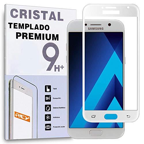 REY Protector de Pantalla Curvo para Samsung Galaxy A5 2017, Blanco, Cristal...