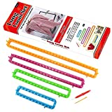 LAYOER Long Knitting Loom Set with Hook Needle Kit for Yarn Cord Knitter 4 Looms (Long)