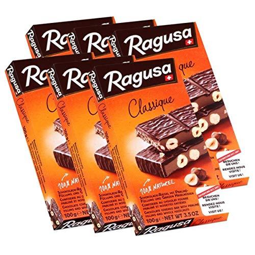 Ragusa Classique Schokolade-Riegel mit ganzen Haselnüssen 100g (6er Pack)