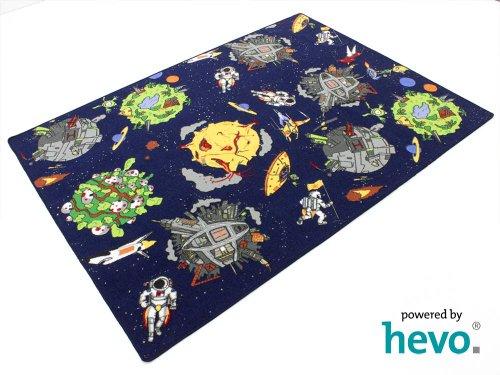 HEVO Space blau Weltraum Teppich | Spielteppich | Kinderteppich 145x200 cm Oeko-Tex 100