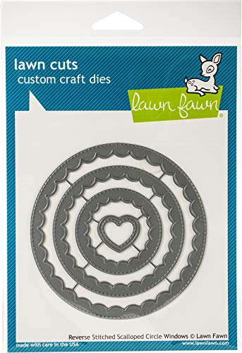 Lawn Cuts Custom Craft Die-Reverse Stitched Scalloped Circle Window
