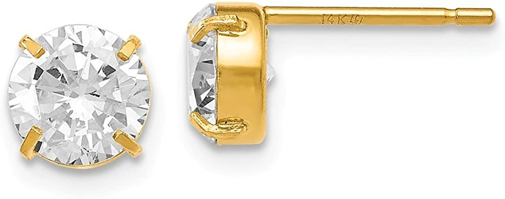 FB Translated OFFer Jewels Solid Leslies 14K Yellow Zirconia Cubic Stud-6 Gold CZ