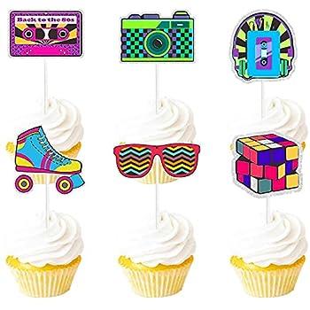 Retro Throwback Dessert Cupcake Topper Radio Red Glitter Girly 90s Decade Theme Decorations Girls Happy Birthday Party Decor Supplies